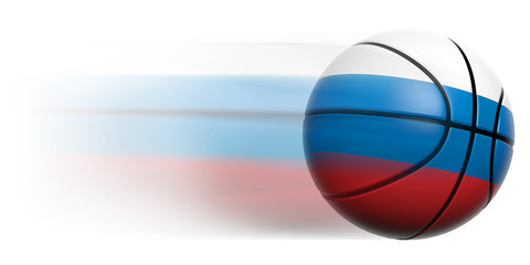 Basketball ball with flag of Russia in motion isolated