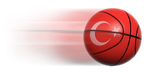 Basketball ball with flag of Turkey in motion isolated