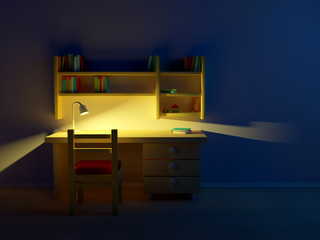 school child room evening