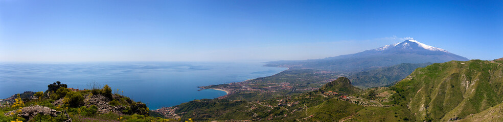 Etna and Giardini-Naxos bay view from Castelmola hills