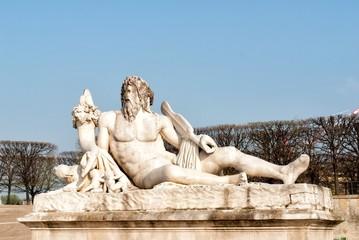 The statue Le Tibre in Tuileries Garden in Paris