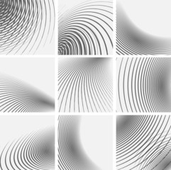 Set of striped abstract forms