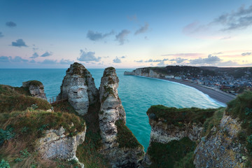 top view on Etretat at sunrise