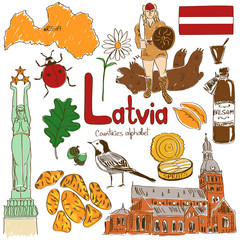 Collection of Latvia icons