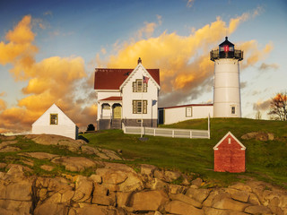 Nubble lighthouse, York, Maine, USA