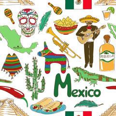 Sketch Mexico seamless pattern