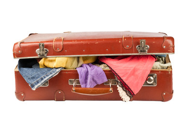 Clothes on old suitcase