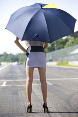 Grid girl with umbrella