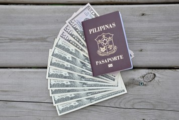 Philippines passport and US dollars