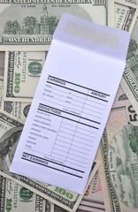 Earnings and deductions envelope over dollars