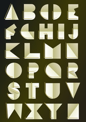 golden art deco inspired alphabet