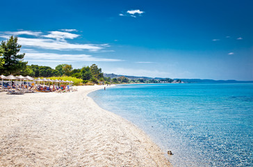 Beautiful Paradiso sand beach on Kassandra, Greece.