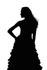 Silhouette of Slim Girl Posing at Beauty Pageant