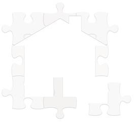 logo maison blanche sur puzzle
