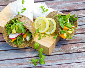 Healthy, grain free, vegetable wraps