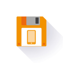 Floppy disk with a smartphone