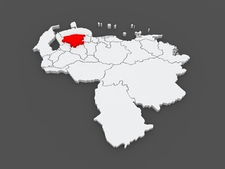 Map of Lara. Venezuela.