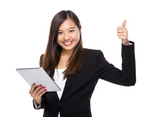 Asian business woman with tablet and thumb up