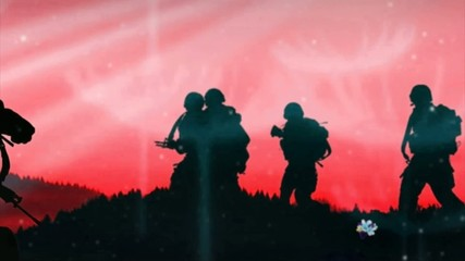 Scroll silhouettes soldiers in the field, red sky background