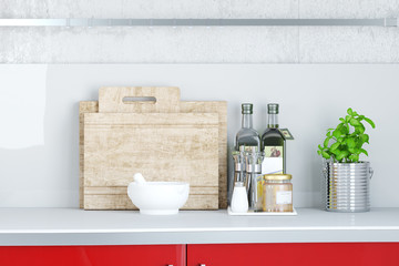 Arbeitsplatte in Küche mit Basilikum und Öl
