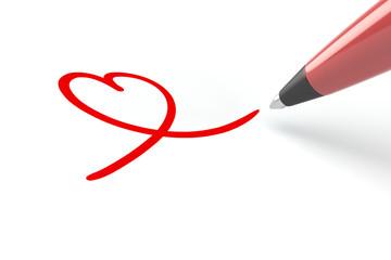 Stift malt rotes Herz auf Papier