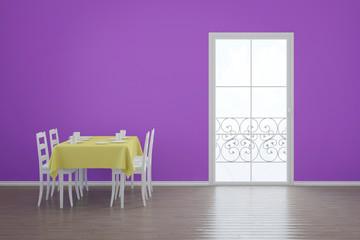 Esszimmer mit Balkon und Tisch