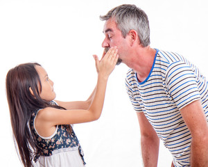 Naughty daughter slapping dad