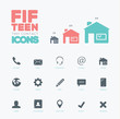 One color vector contact & communication small icons set