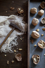 craked walnuts and hammer on rustic background
