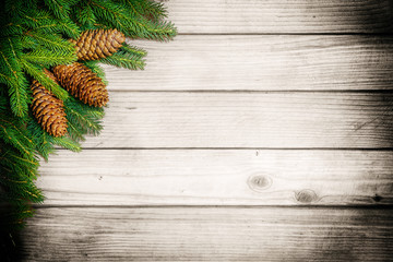 Christmas decoration over wood background