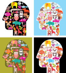 Four variants of human head with animal icons