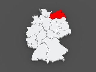 Map of Mecklenburg-Western Pomerania. Germany.