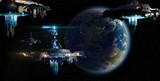 Fototapety Alien UFO motherships invasion nearing Earth