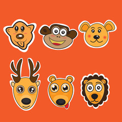 Funny Animal Heads Vector illustration