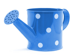 blue polka dot watering can