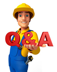 Young Mechanic with Q & A sign