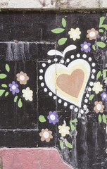 Heart painting flowers
