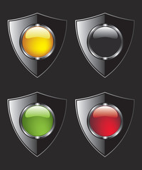 Shield with different color buttons