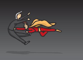 Superhero fighting crime