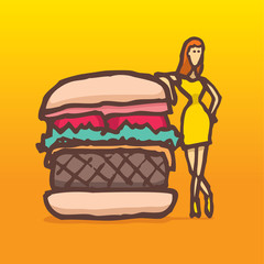 Woman on a diet posing next to a burger