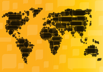 Globalization concept of business and communication vector backg