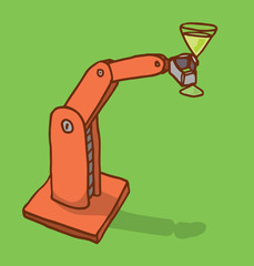 Robot arm holding a drink