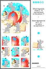Mice and cheese visual logic puzzle