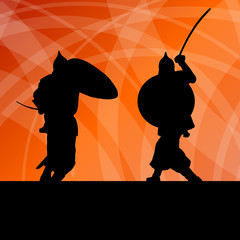 Medieval warrior, crusader vector background