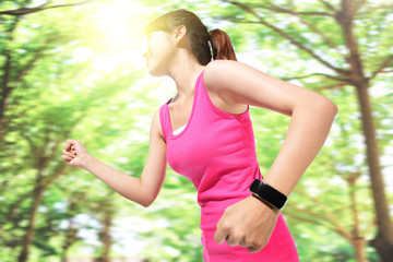 Health sport woman wearing smart watch