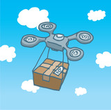 Drone copter flight delivering a box poster