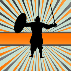 Medieval knight, warrior vector background