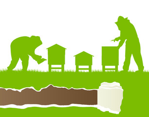 Beekeepers working in apiary vector background ecology