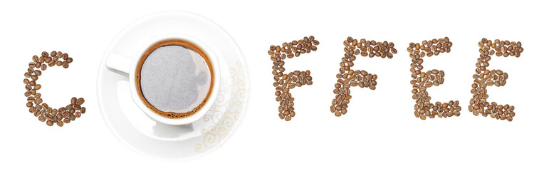 Text coffee arranged in creative way