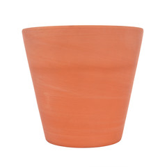 Face of clay pot on white background.